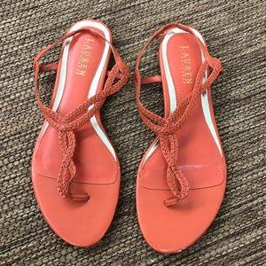 Lauren Ralph Lauren Rope Sandals Orange Size 8
